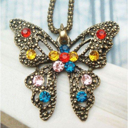 Swarovski Crystal Retro Copper Butterfly Necklace Vintage Style