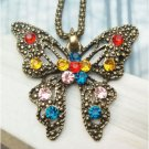 Swarovski Crystal Retro Copper Butterfly Necklace Vintage Style