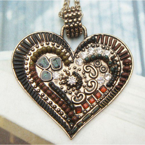 Swarovski Crystal Retro Copper Heart Necklace Pendant Vintage Style