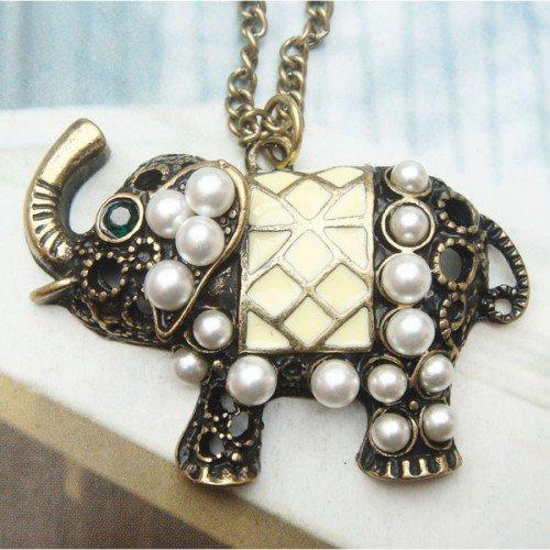 Swarovski Crystal Retro Copper Elephant Necklace Pendant Vintage Style