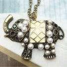 Swarovski Crystal Retro Copper Elephant Necklace Pendant Vintage Style