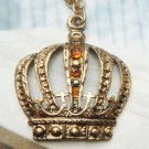 Swarovski Crystal Retro Copper Crown Necklace Pendant Vintage Style