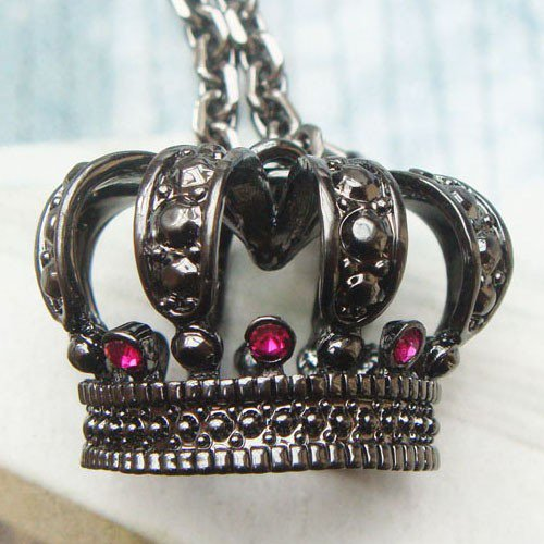 Vivid Swarovski Crystal Retro Copper Crown Necklace Vintage Style