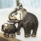 Swarovski Crystal Retro Copper Mother & Kid Elephant Necklace Vintage