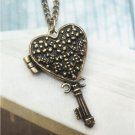 Swarovski Crystal Retro Copper Key Locket Necklace Vintage Style
