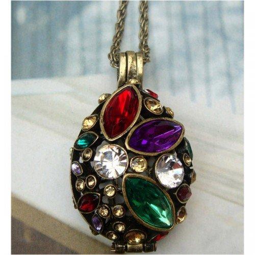 Swarovski Crystal Retro Copper Locket Necklace Pendant Vintage