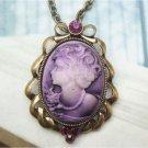 Retro Copper Swarovski Crystal Cameo Necklace Pendant Vintage Style