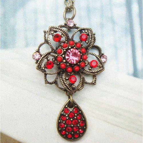 Retro Copper Swarovski Crystal Flower Necklace Pendant Vintage Style