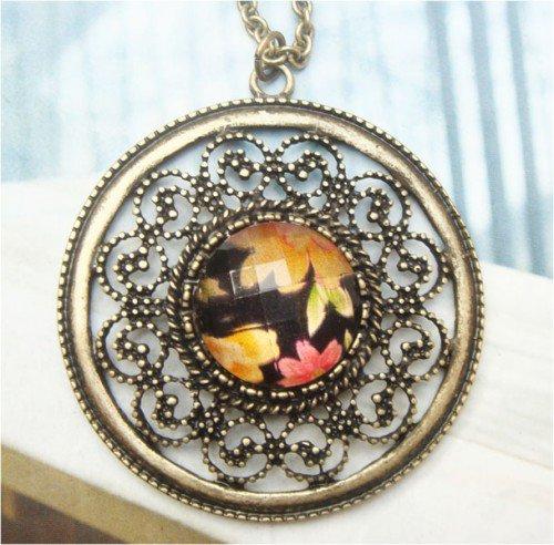 Retro Copper Fillagree Necklace Pendant Vintage Style