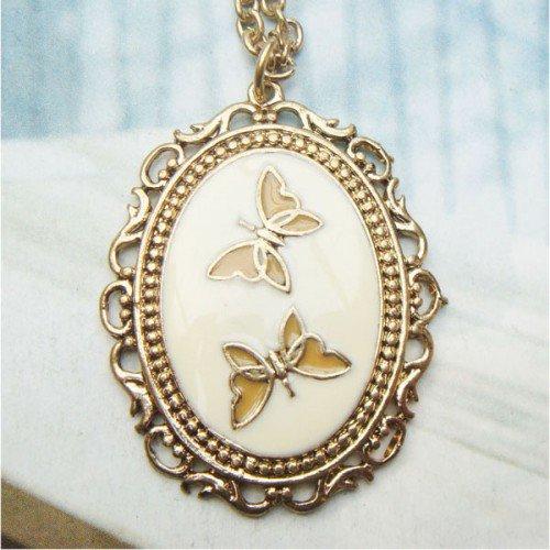 Retro Copper Butterfly Necklace Pendant Vintage Style
