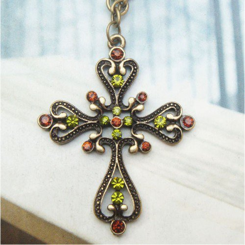 Retro Copper Swarovski Crystal Cross Necklace Pendant Vintage Style