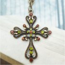 Retro Copper Swarovski Crystal Cross Necklace Pendant Vintage Style