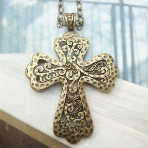 Retro Copper Cross Necklace Pendant Vintage Style