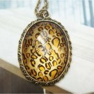 Retro Copper Oval Necklace Pendant Vintage Style