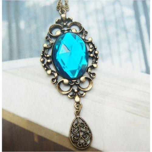 Swarovski Crystal Retro Copper Necklace Pendant Vintage Style