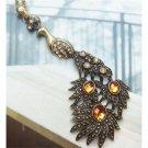 Swarovski Crystal Retro Copper Peacock Necklace Pendant Vintage Style