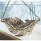 Swarovski Crystal Retro Copper Leather Necklace Pendant Vintage Style