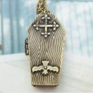 Retro Copper Coffin Locket Necklace Pendant Vintage Style