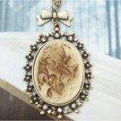 Swarovski Crystal Retro Copper Beauty Cameo Necklace Vintage Style