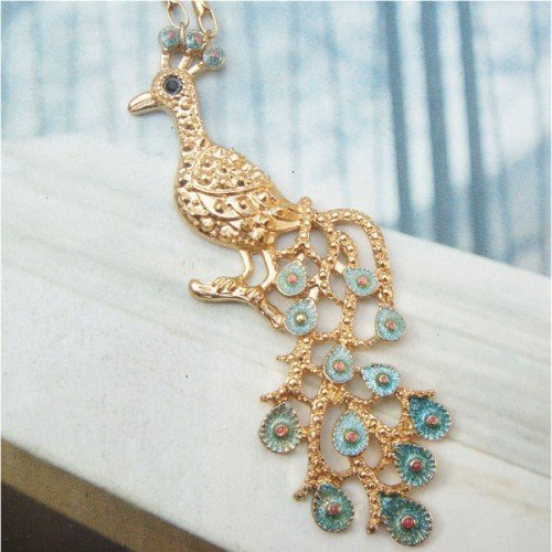 Swarovski Crystal Retro Copper Peacock Necklace Pendant Vintage Style
