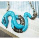 Swarovski Crystal Retro Copper Snake Necklace Pendant Vintage Style