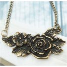 Retro Copper Flower Necklace Pendant Vintage Style