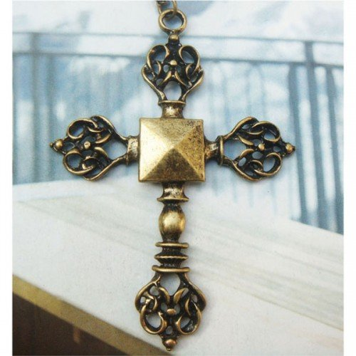 Retro Copper Cross Necklace Pendant Vintage Style