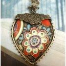 Retro Copper Heart Pendant Necklace Vintage Style