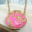 Swarovski Crystal Retro Copper Flower Locket Necklace Vintage Style