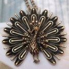 Elegant Brass Peacock design Pendant Necklace T