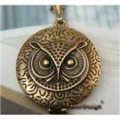 Elegant Retro Brass Owl design Locket Pendant Necklace