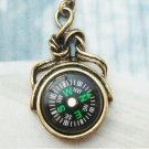 Retro Copper Compass Necklace Pendant Vintage Style