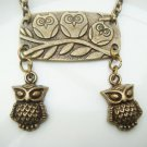 Retro Brass Owl Pendant Necklace