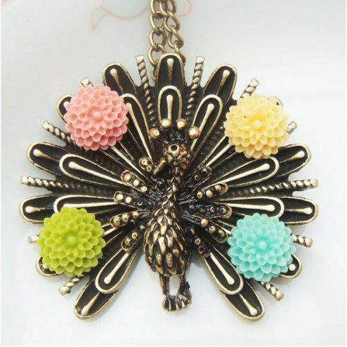 Retro Brass Peacock Flower Necklace