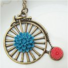 Retro Brass Old Style Bike Flower Necklace