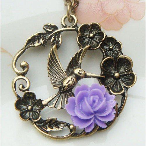 Retro Brass Bird Flower Vintage Style Necklace
