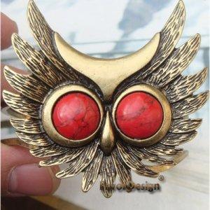 Elegant Brass Owl design Pendant Cuff Bracelet