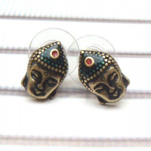 Antique Brass Buddha Head Ear Stud