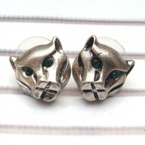 Swarovski Crystal Silver Plated Brass Cougar Ear Stud