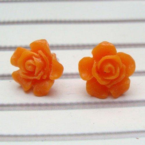 Orange Resin Flower Ear Stud