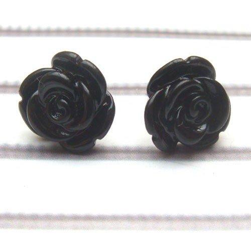 Black Resin Flower Ear Stud