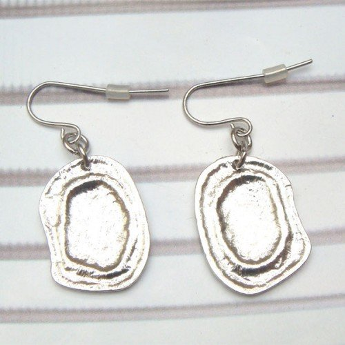 Silver Plated Antique Brass Ear Hook Earrings