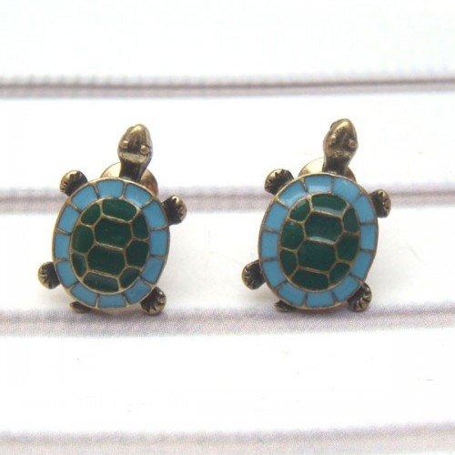 Antique Brass Turtle Ear Stud
