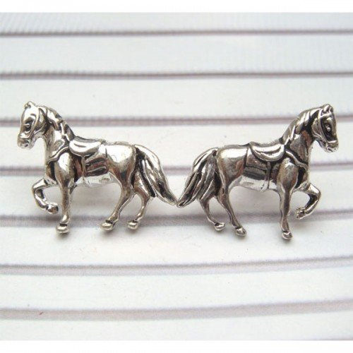 Silver Plated Antique Brass Horse Ear Stud