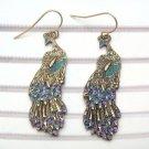 Antique Brass Peacock Hook Earrings
