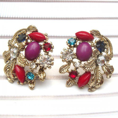 Antique Brass Swarovski Crystal Flower Ear Stud