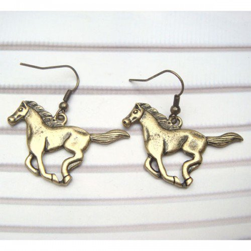 Antique Brass Horse Hook Earrings