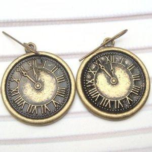 Antique Brass Clock Hook Earrings