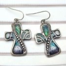 Silver Plated Antique Brass Cross Hook Earrings