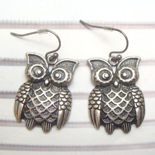 Silver Plated Antique Brass Owl Hook Earrings